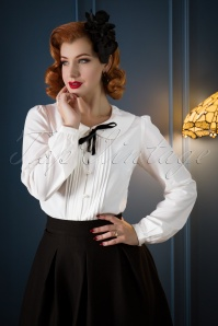 40s Sailor Rose Blouse in Ivory