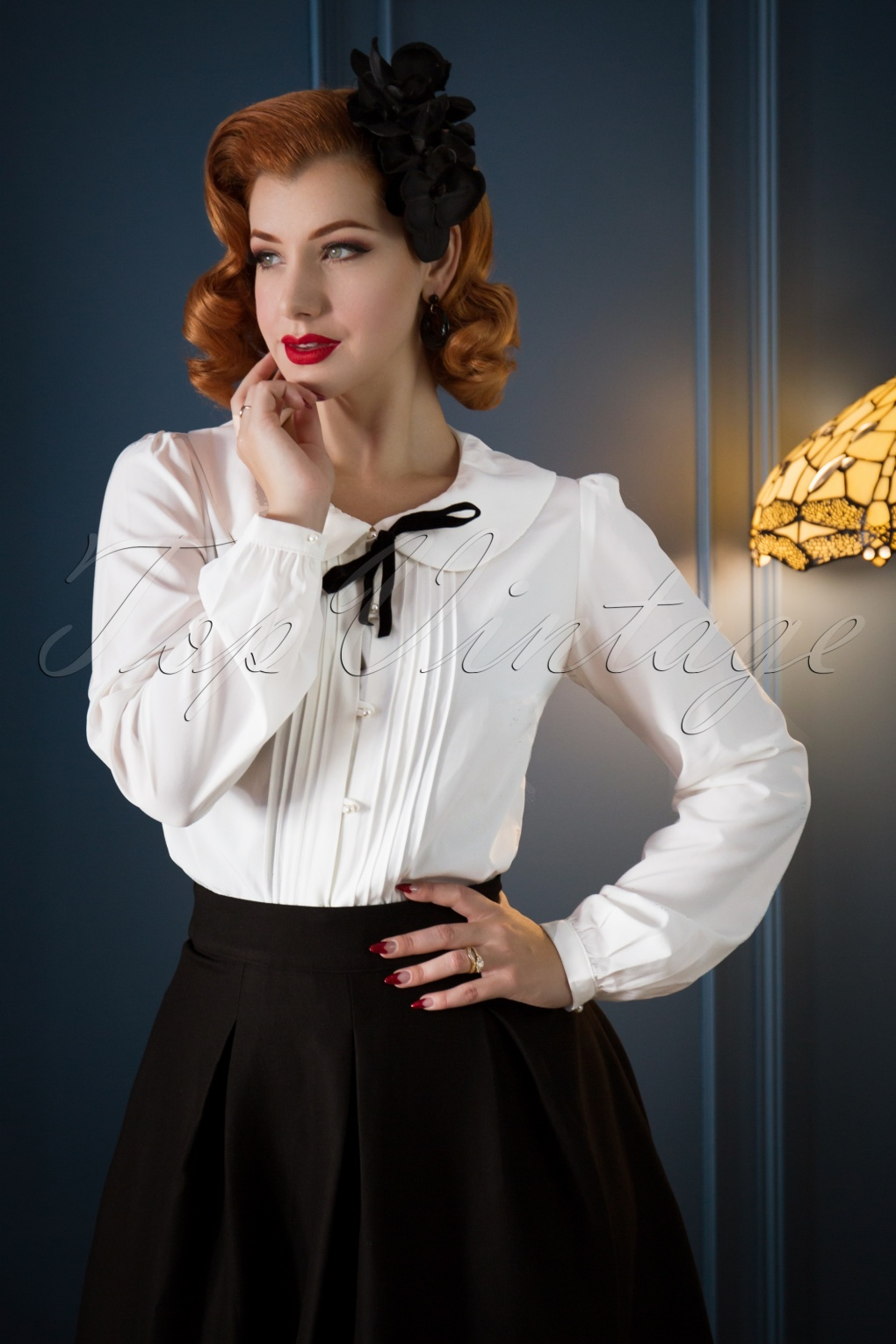1920s Style Blouses, Shirts, Sweaters, Cardigans 40s Sailor Rose Blouse in Ivory £33.51 AT vintagedancer.com