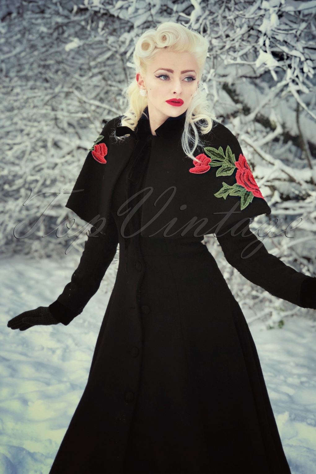 Vintage Coats & Jackets | Retro Coats and Jackets 40s Claudia Coat And Floral Cape in Black Wool £201.53 AT vintagedancer.com