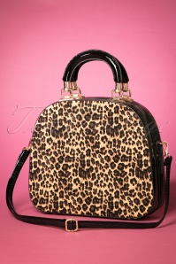 50s Leopard Handbag in Black