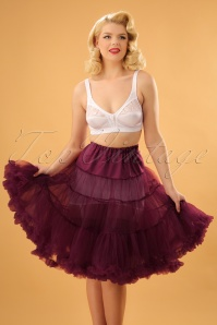 50s Retro Chiffon Petticoat in Burgundy