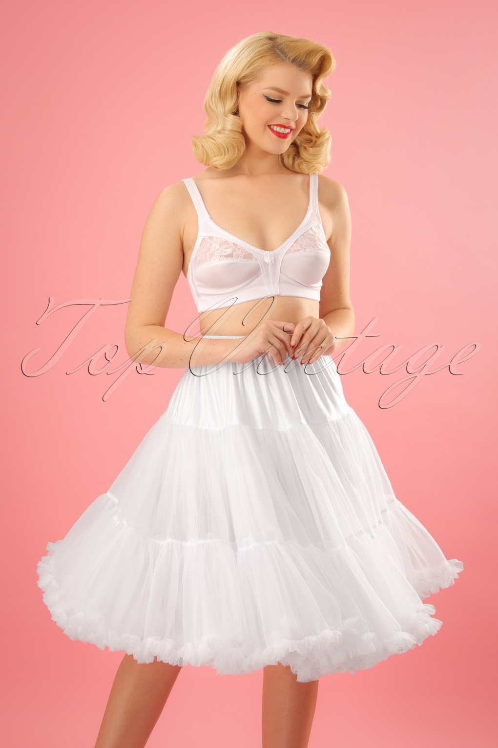 1950s Petticoat History 50s Lola Lifeforms Petticoat in White £42.56 AT vintagedancer.com