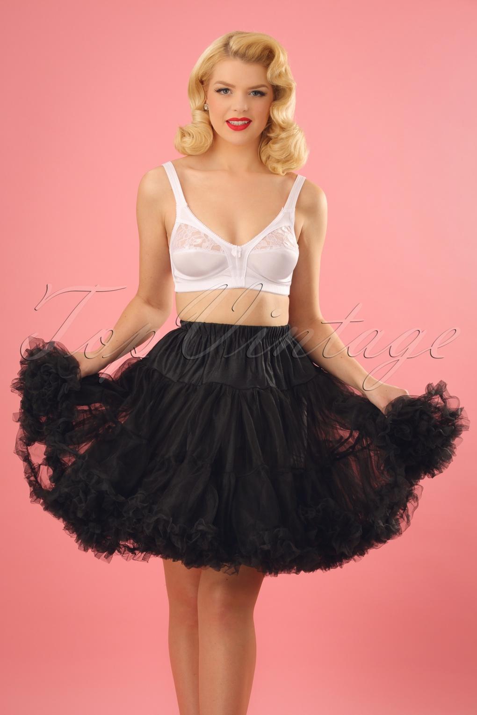 50s Retro Short Chiffon Petticoat in Black