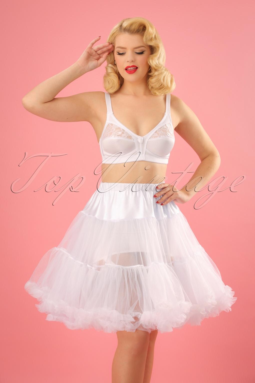 Retro Short Petticoat Chiffon Années 50 en Blanc