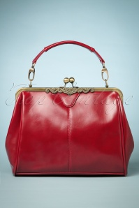 20s Vintage Frame Kisslock Clasp Bag in Red