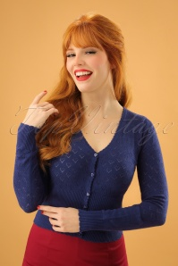 King Louie 40s Heart Ajour Cardigan in Navy