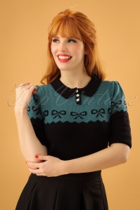 40s Berit Bow Jumper in Black and Blue