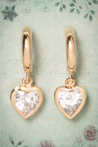 50s Diana Diamond Heart Earrings in Gold