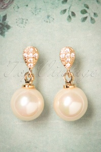 50s Carole Classic Pearl Earrings in Gold