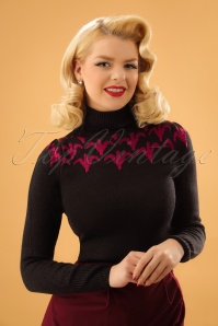 50s Fleur Bat Turtleneck in Black