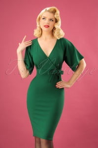 Vintage Chic Scuba Crepe Emerald Green Cross Bust Pencil Dress  100 40 22749 20171123 1W