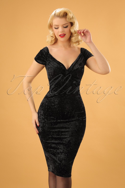 cbe15ba736 50s Glenda Glitter Velvet Pencil Dress in Black