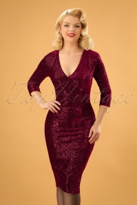 Vintage Chic Red Velvet Sequins Pencil Dress 100 20 23918 20171124 01W