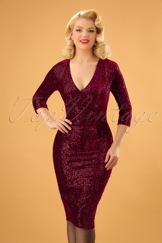 50s Marci Sequin Pencil Dress In Wine