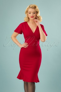 50s Trixie Trumpet Pencil Dress in Red