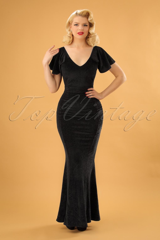 1950s Dress Styles: 8 Popular Vintage Looks 50s Sue Velvet Glitter Maxi Dress in Black £64.01 AT vintagedancer.com