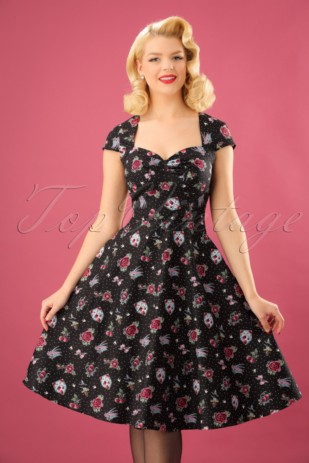 Dress: 50s Stevie Swing Dress In Black