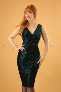 Vintage Chic Velvet Sequin Pencil Dress in Green 100 40 23389 20171127 1W