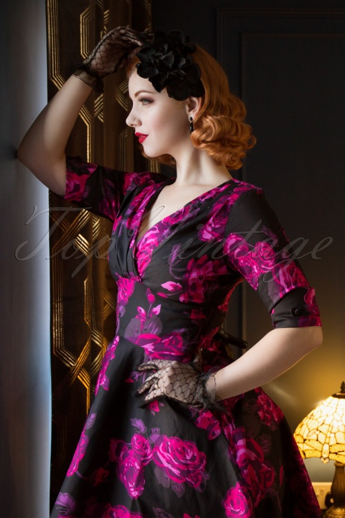 5c2f7b8ab4 Unique Vintage 1950s Black Fuchsia Pink Floral Delores Swing Dress with  Sleeves MVV5w