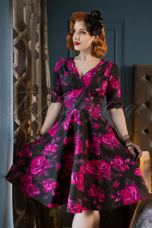 Unique Vintage 1950s Black Fuchsia Pink Floral Delores Swing Dress with Sleeves MVV4w
