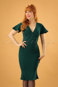 Vintage Chic Super Crepe Forest Green Pencil Dress 100 40 23698 20171123 1W