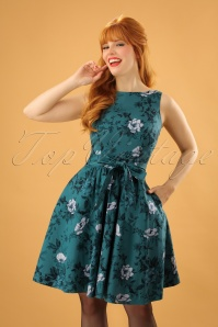 Lady V Tea Roses Swing Dress in Teal 102 39 24152 20171128 01W