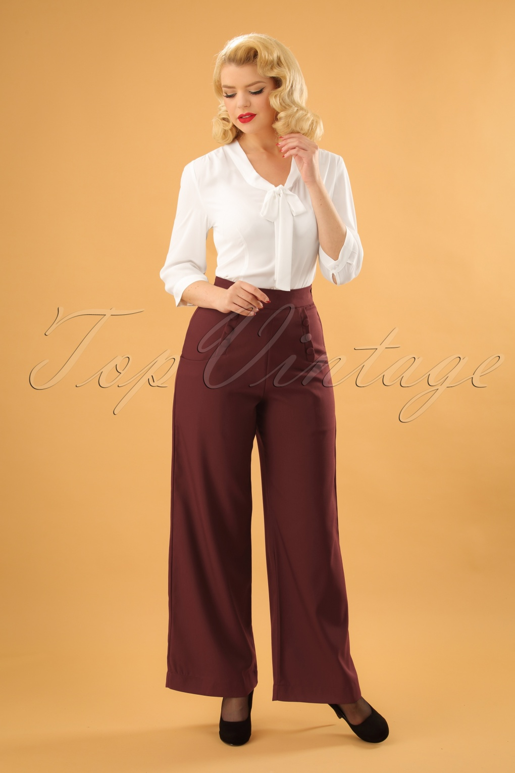 Vintage High Waisted Trousers, Sailor Pants, Jeans 40s Ginger Sailor Trousers in Burgundy £66.67 AT vintagedancer.com