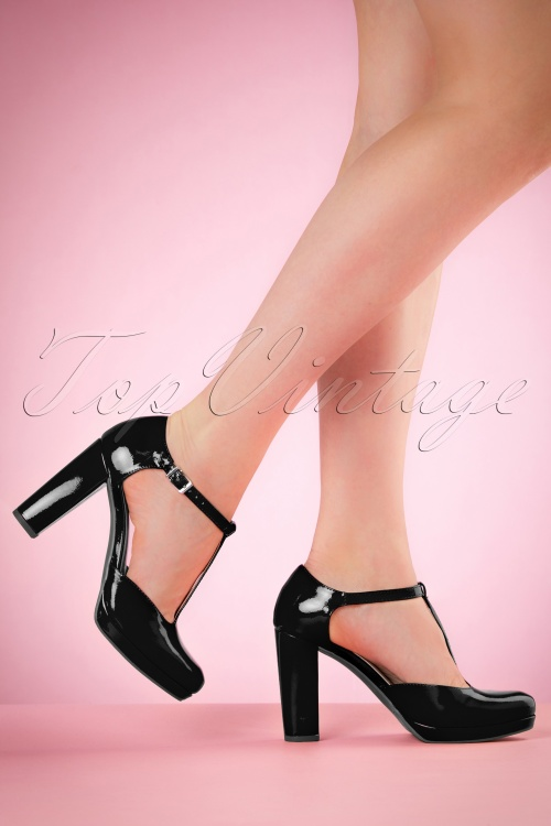 Tamaris Black Patent Pumps 410 10 19846 01122017 model01W
