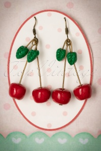 50s Sweet Sparkling Cherries Earrings in Red