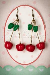 50s Sweet Sparkling Cherries Earrings in Red
