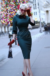 Collectif Clothing Christiane Faux Fur Trim Pencil Dress in Blue 21994 20170612 0022 rachelannjensenw
