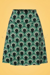 60s Peacock Borderskirt in Rock Green