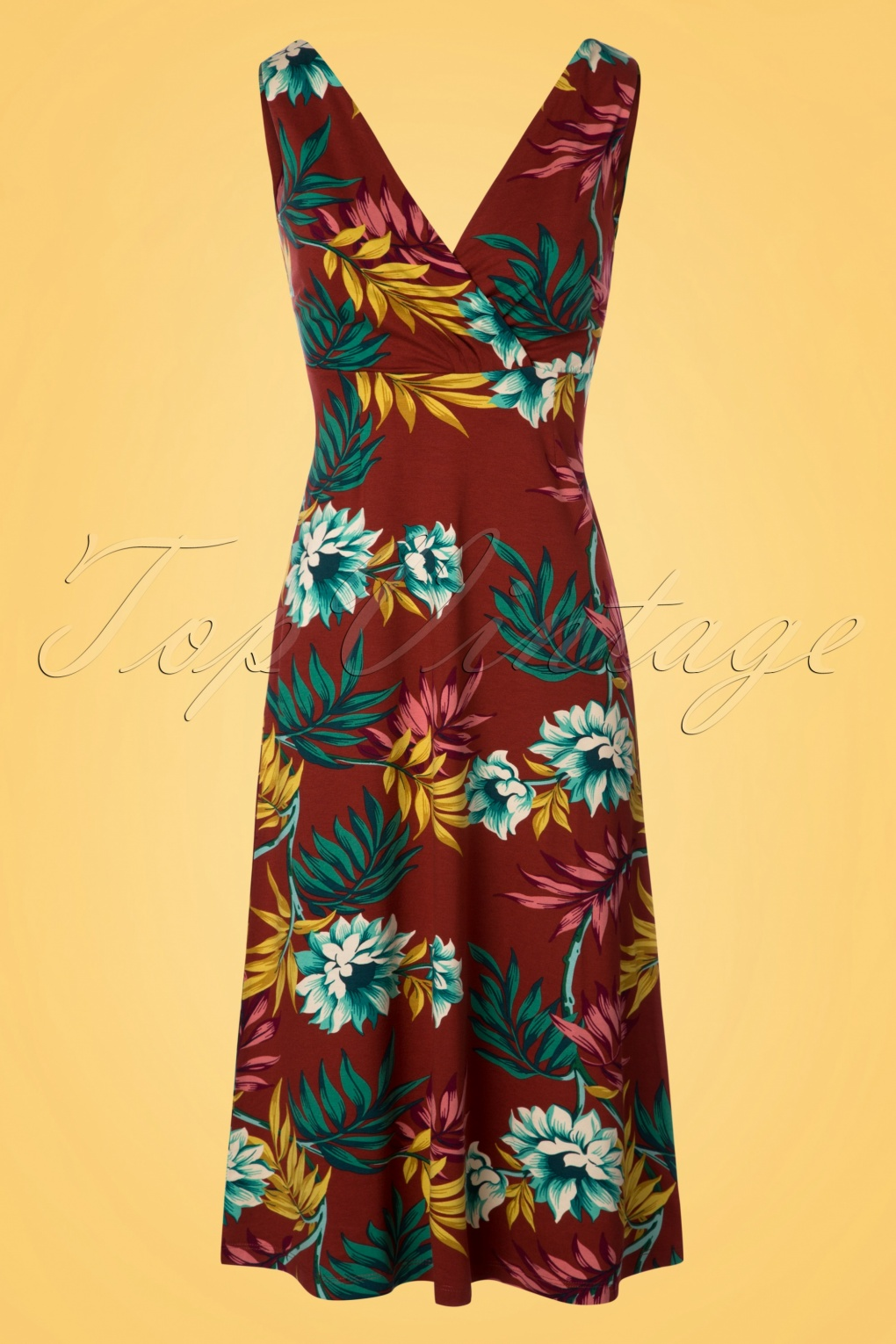 Plus Size Vintage Dresses, Plus Size Retro Dresses 70s Ginger Marisol Midi Dress in Rio Red £84.10 AT vintagedancer.com