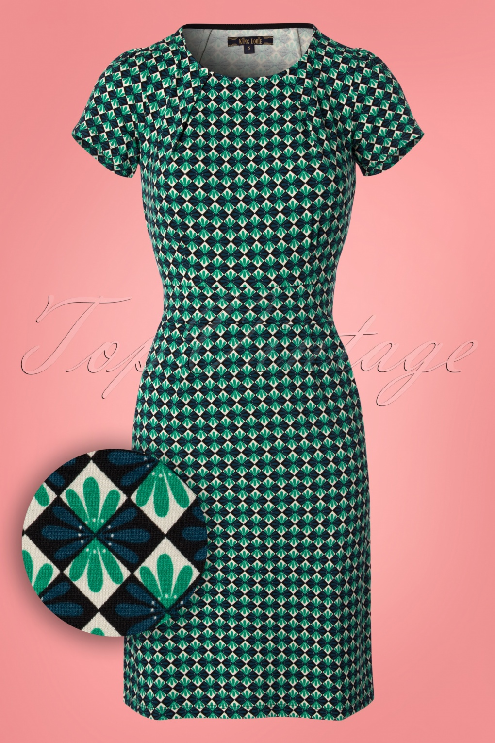 1960s Mad Men Dresses and Clothing Styles 60s Mona Mazapan Dress in Green £88.52 AT vintagedancer.com