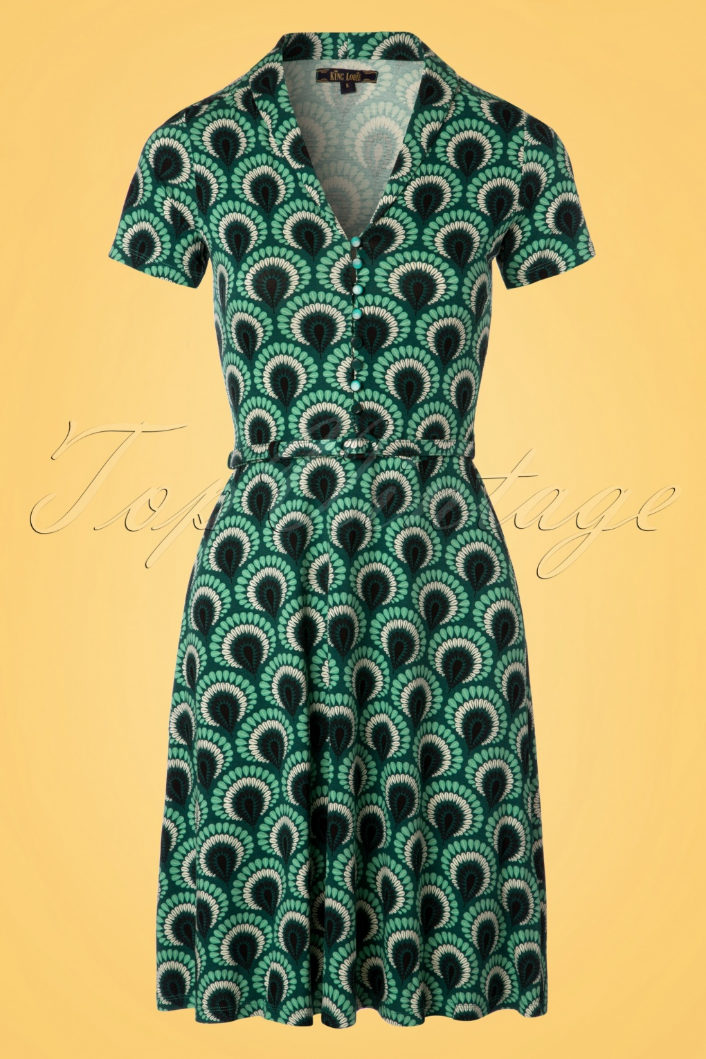 Plus Size Vintage Dresses, Plus Size Retro Dresses 60s Emmy Peacock Dress in Rock Green £88.52 AT vintagedancer.com