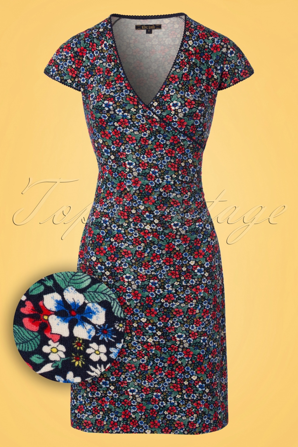 1960s Mad Men Dresses and Clothing Styles 60s Hula Floral Cross Dress in Blue £84.10 AT vintagedancer.com