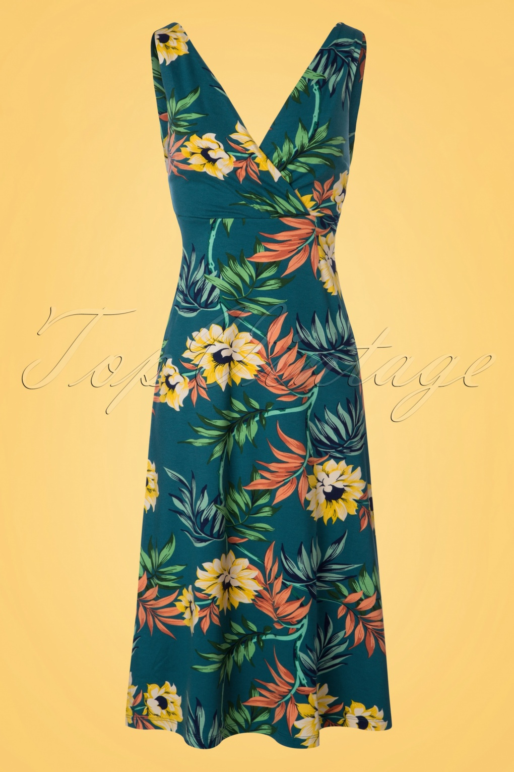 Plus Size Vintage Dresses, Plus Size Retro Dresses 70s Ginger Marisol Midi Dress in Parade Blue £84.10 AT vintagedancer.com