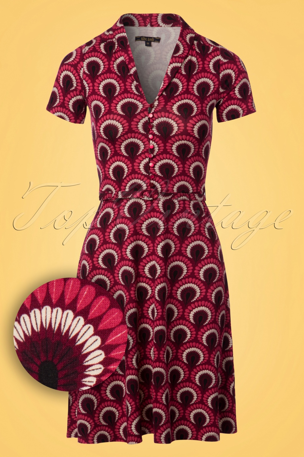 Plus Size Vintage Dresses, Plus Size Retro Dresses 60s Emmy Peacock Dress in Beaujolais Red £88.52 AT vintagedancer.com