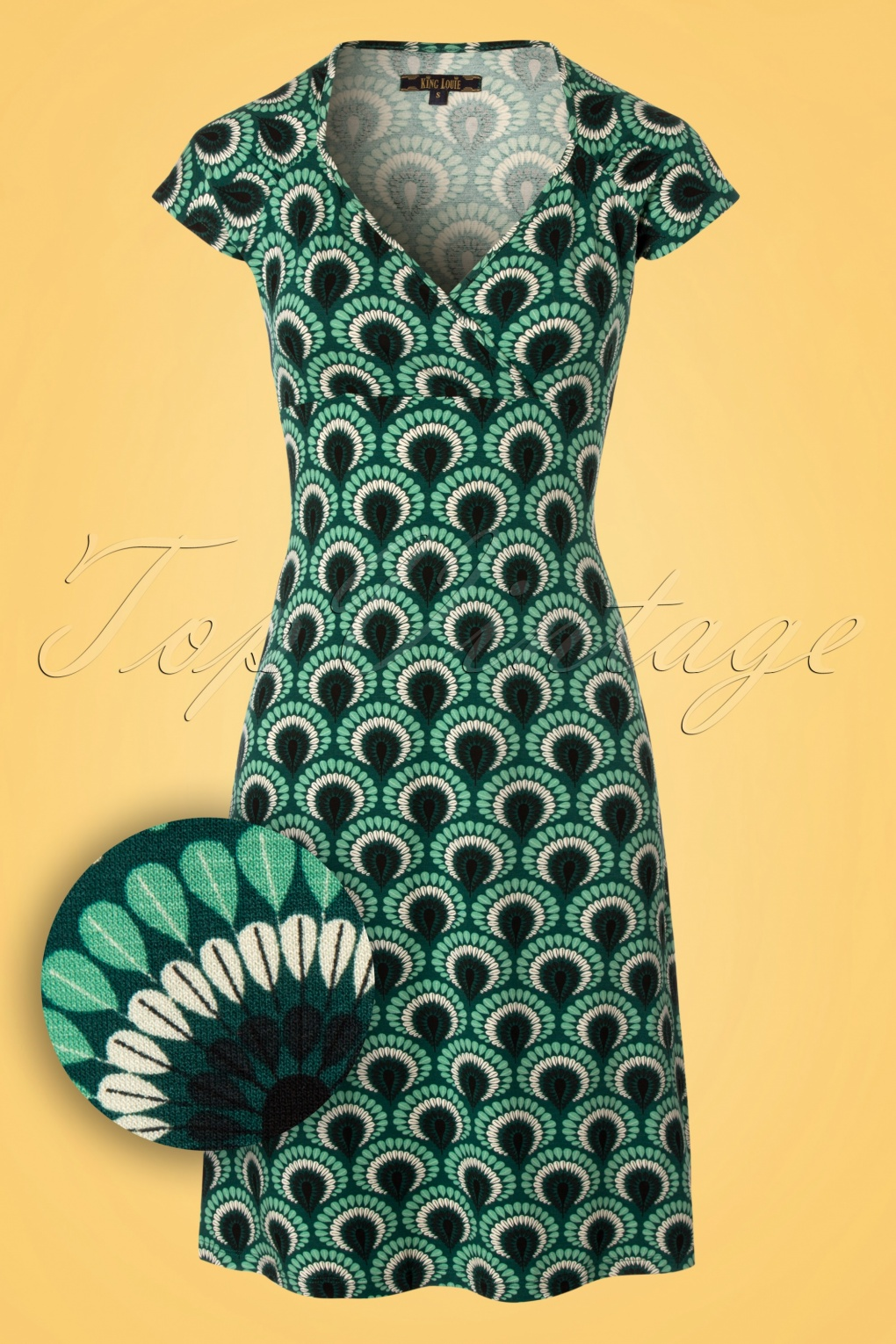 Plus Size Vintage Dresses, Plus Size Retro Dresses 60s Gina Peacock Dress in Rock Green £84.10 AT vintagedancer.com