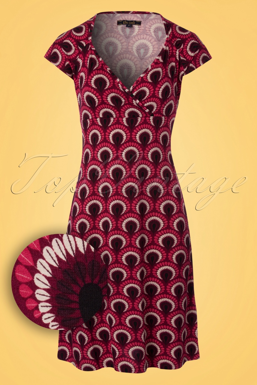 Plus Size Vintage Dresses, Plus Size Retro Dresses 60s Gina Peacock Dress in Beaujolais Red £84.10 AT vintagedancer.com