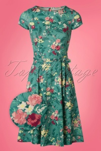 King Louie Betty Floral Dress in Emeral Green 23124 20180105 0001wv