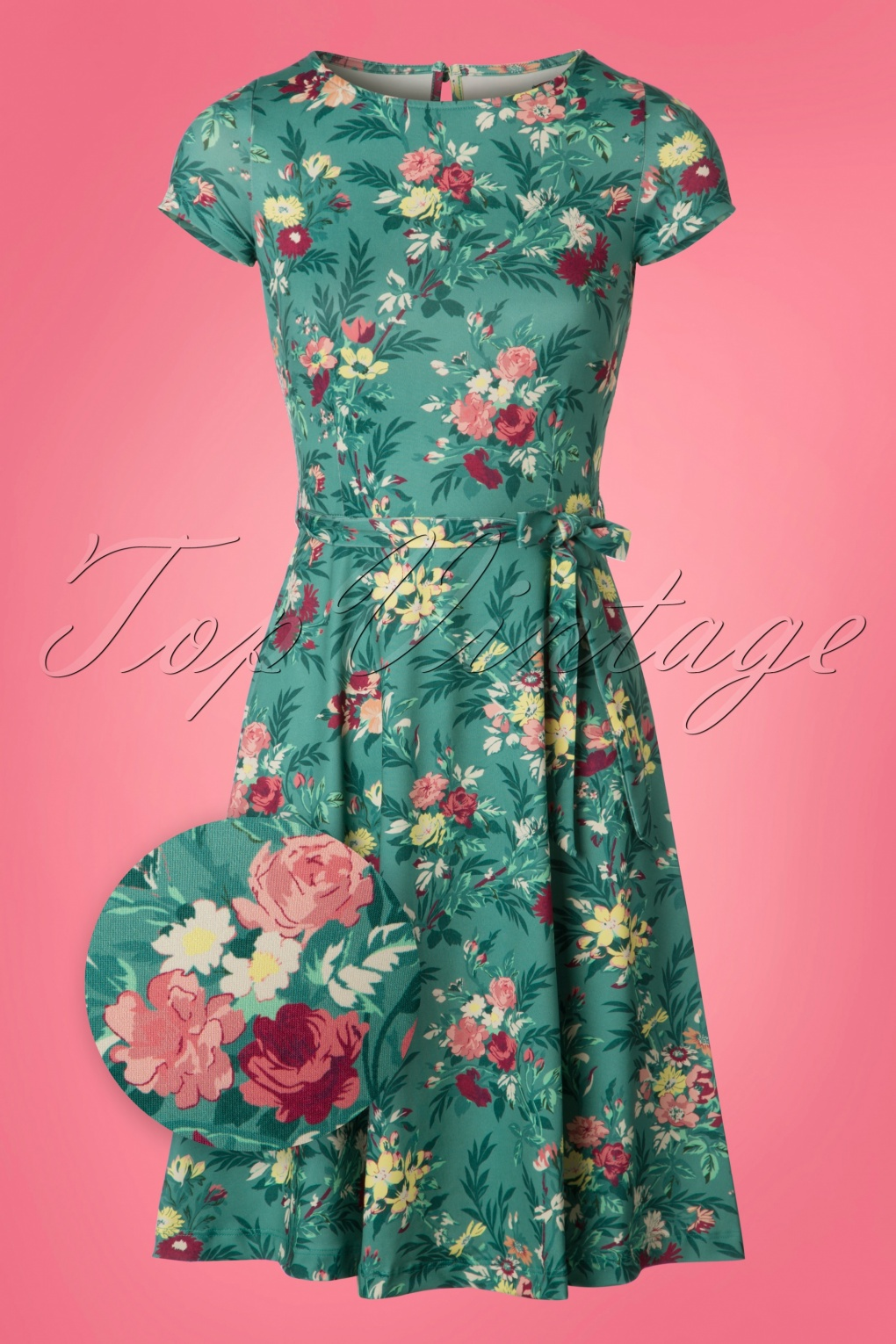 1960s Mad Men Dresses and Clothing Styles 60s Betty Woodrose Swing Dress in Emerald Blue £88.52 AT vintagedancer.com