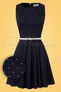 Closet London Navy Skater Dress with Polkadots  102 39 24451 20180108 0004W1