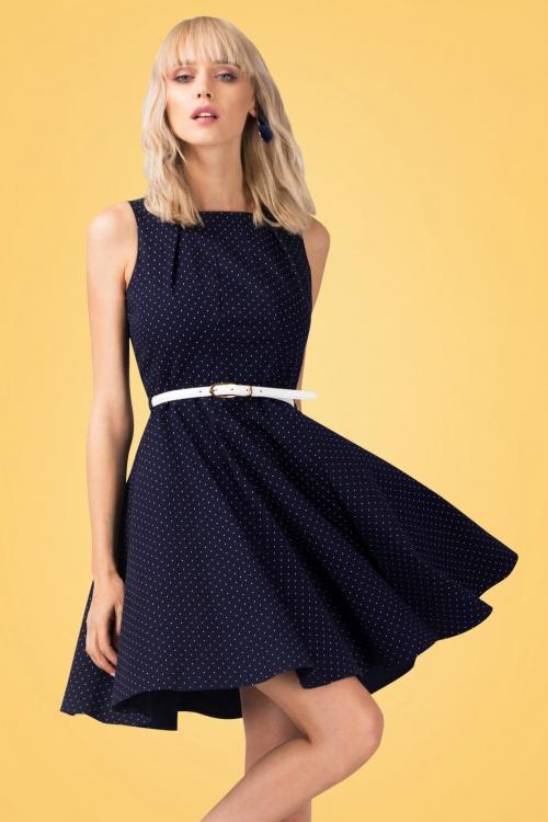 Closet London Navy Skater Dress with Polkadots  102 39 24451 20180108 1