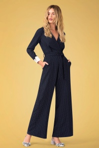 Closet London Wrap Front Jumpsuit in Navy with Polkadots 133 39 24457 20180109 0017