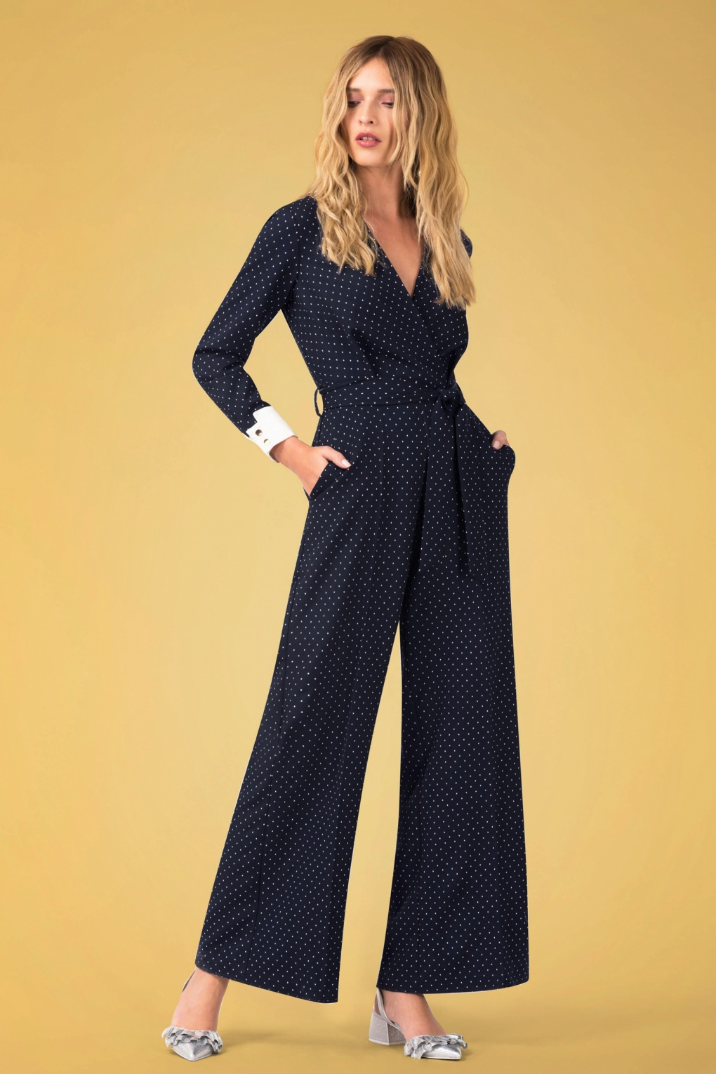 Vintage High Waisted Trousers, Sailor Pants, Jeans 60s Patty Pindot Jumpsuit in Navy £84.49 AT vintagedancer.com