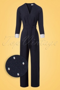 Closet London Wrap Front Jumpsuit in Navy with Polkadots 133 39 24457 20180109 0004wv