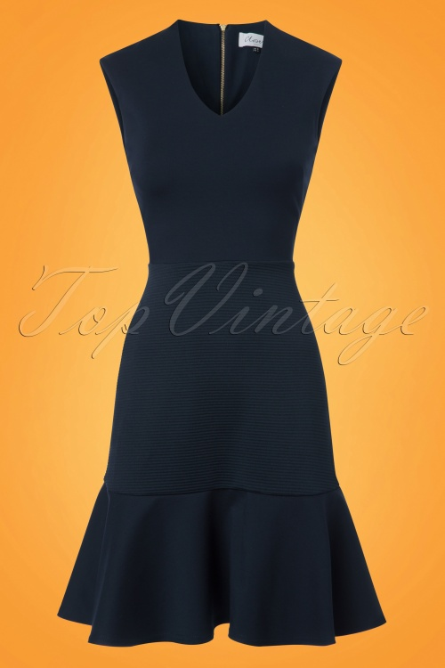 Closet London V Neck Peplum Dress in Navy 100 31 24456 20180108 0001w
