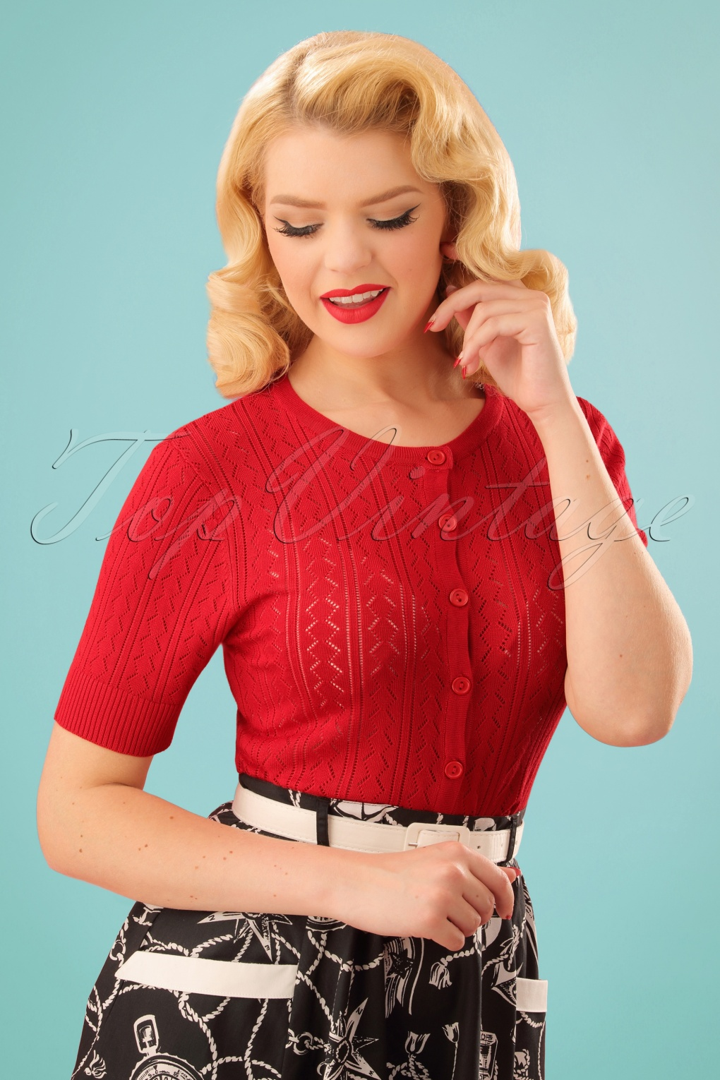 1950s Sweaters, 50s Cardigans, Twin Sweater Sets 50s Loretta Cardigan in Red £17.54 AT vintagedancer.com