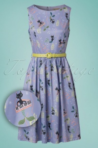 50s Audrey Mercats Swing Dress in Lilac